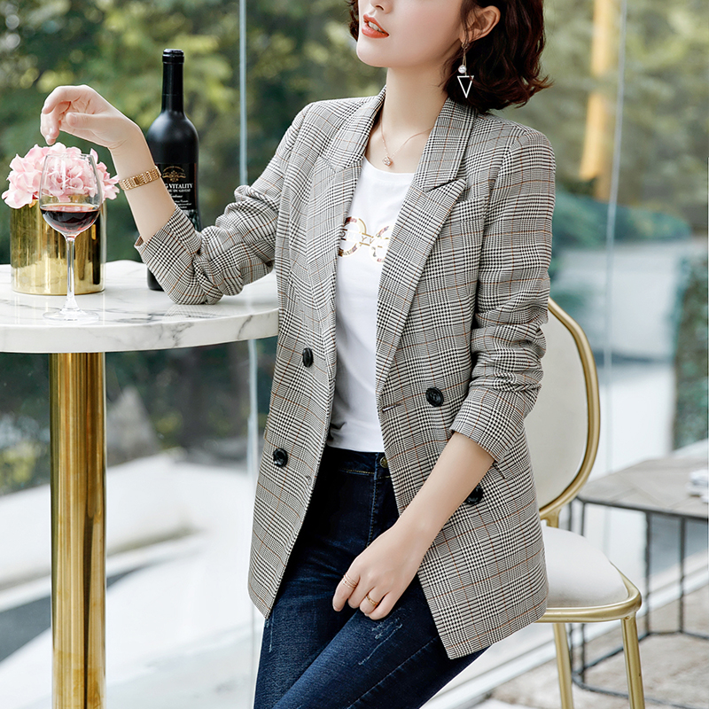 Women's Plaid Small Suit Women's Jacket Long Sleeve Slim  Autumn And Winter New Casual Lady Small Suit Spring And Autumn Trend