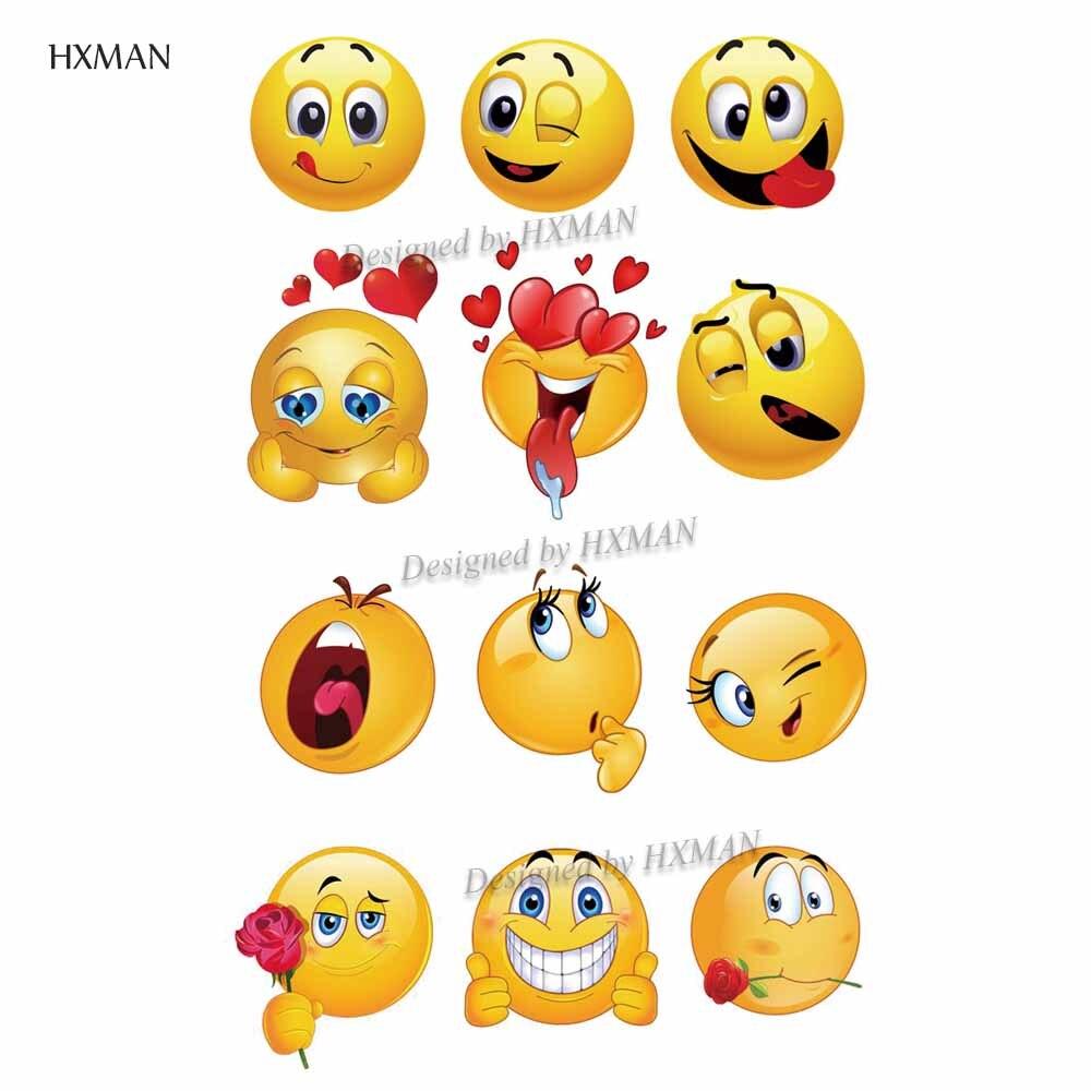 HXMAN Emoji Waterproof Temporary Tattoos Sticker Women Men Fashion Fake Body Art 9.8X6cm Kids Hand Face Tattoo B-058