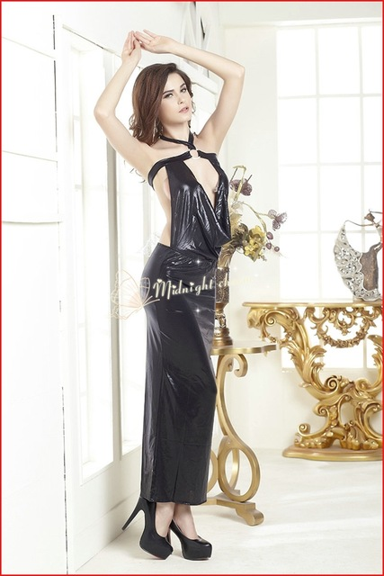 Patent Leather Women Sexy Dresses Halter Neck Evening Dress Porn Ankle Length Suits Dress Open Up Hot Sex Image Women Dress