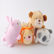 Mini Plush Rabbit Bear Doll Keychain Cute Plush Pendant Plush Toy Bunny Doll Children Cartoon Backpack Ornaments Holiday Gifts цена 2017