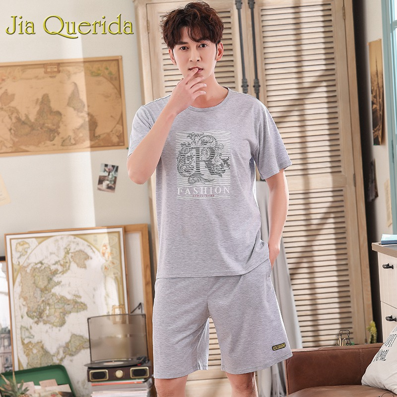 Underwear & Sleepwears Fashion Style J&q Fashion Home Wear Male 2019 Summer Shorts Pj Set 100% Cotton Pijama Man Set Solid Grey Plain Style Men Leisure Suits Home Utmost In Convenience Men's Sleep & Lounge
