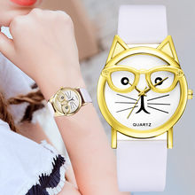Relogio Feminino Watch Women Cute Cat modeling Leather Band Analog Quartz Vogue WristWatches Gift Clock Montre Femme Saat(China)