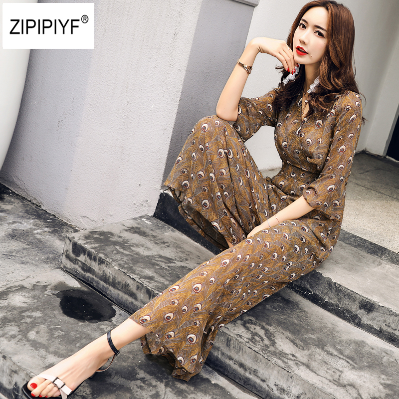 Art Printed Zip Back 3/4 Flare Sleeve Jumpsuit Elegant 2018 New Women V Neck Waist Wide Leg Slim Thin Elegant Sexy Jumpsuit B749