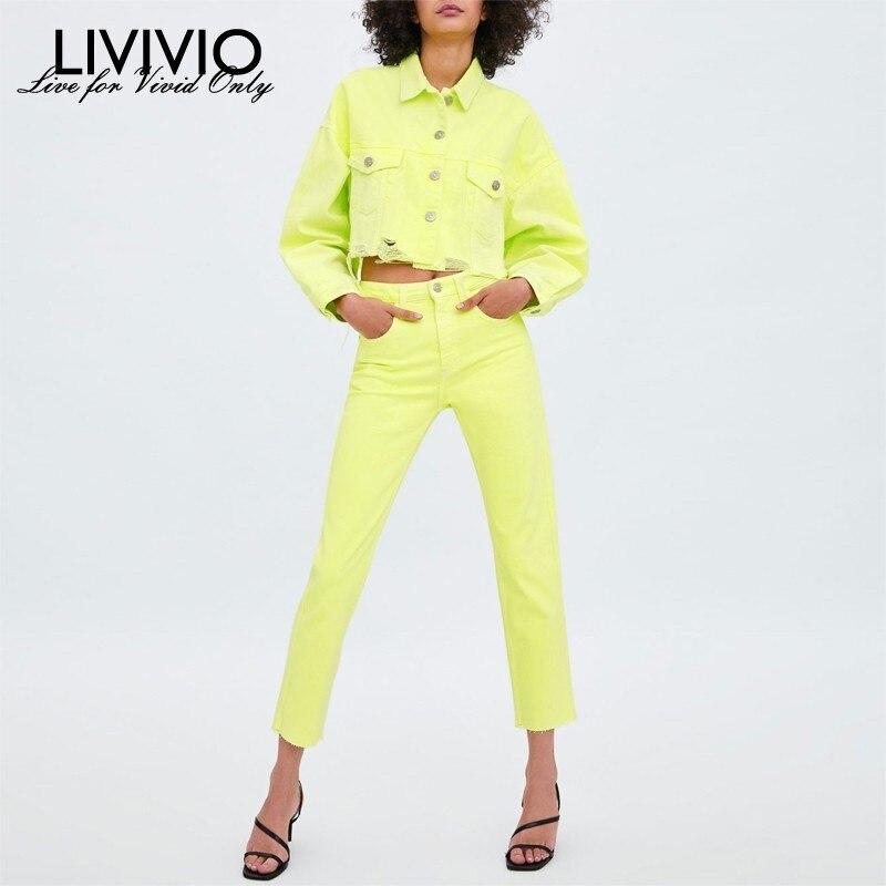 [LIVIVIO] ensemble deux pièces néon vert Denim déchiré frange haut court veste pantalon femmes Streetwear 2019 automne correspondant ensembles tenues