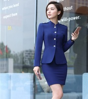 Office Uniform Designs for Women Business Suits with Skirt and Jacket Sets Ladies Blazer Work Wear Clothes Blue