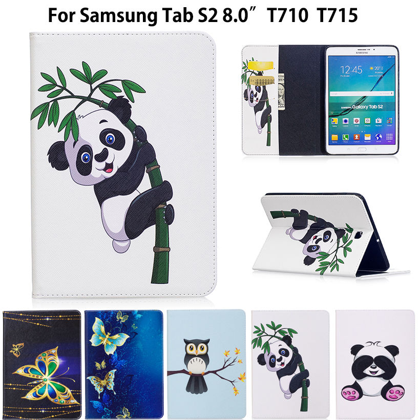 Tab S2 8.0 inch Case Panda Pattern Cover For Samsung Galaxy Tab S2 8.0 T710 T715 T713 T719 Case Funda Tablet PU Leather Shell new x line soft clear tpu case gel back cover for samsung galaxy tab s2 s 2 ii sii 8 0 tablet case t715 t710 t715c silicon case