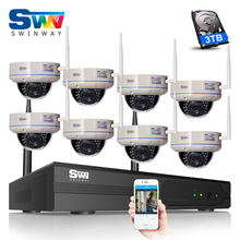 SW 3TB HDD 8CH NVR Wireless CCTV System Onvif 2.0 MP 1080P HD H.264 Vandal-proof Dome IR IP Camera WIFI Network Security Camear