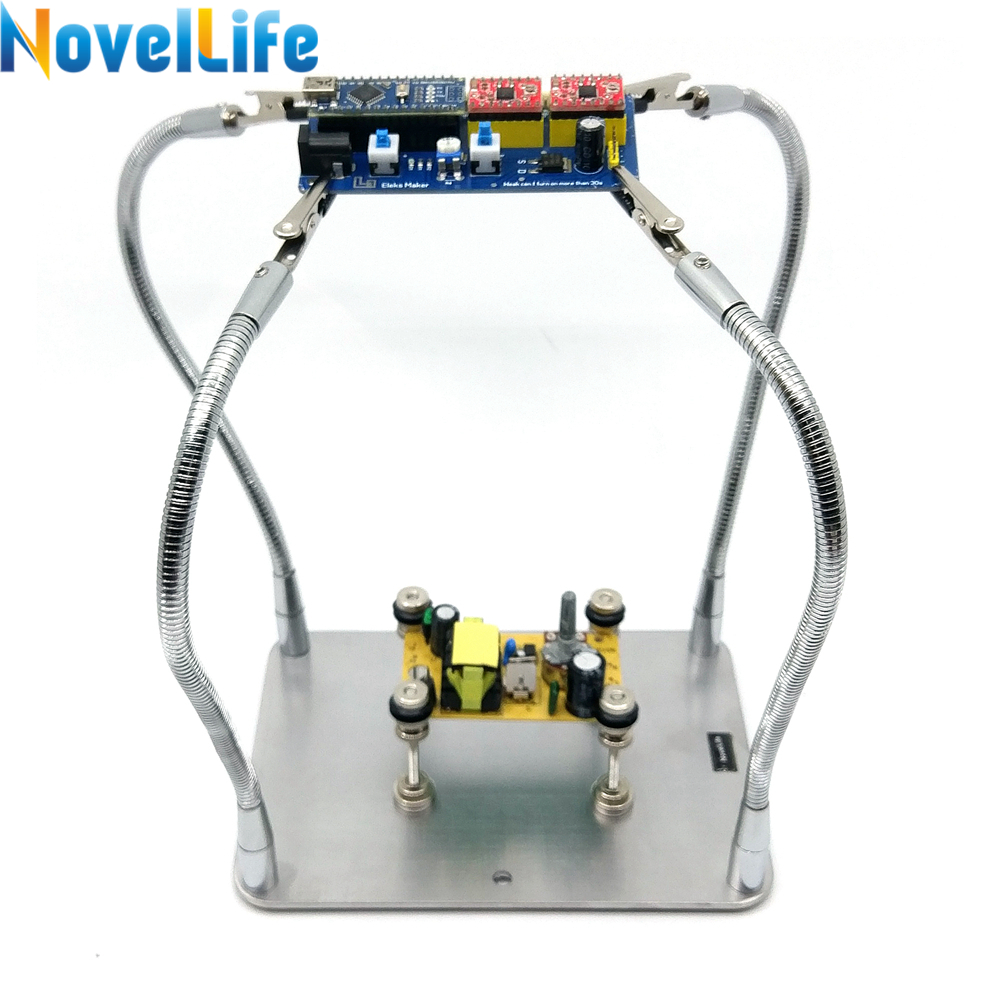 Soldering Stand Helping Hands Tool Third Pana Hand PCB Board Holder 4 Metal Flexible Arm Alligator Clip Stainless Steel Base