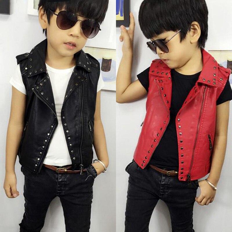 2017 girls outerwear children clothing boys girls vest cool rivet faux leather motorcycle kids vest jacket baby boy vest coat