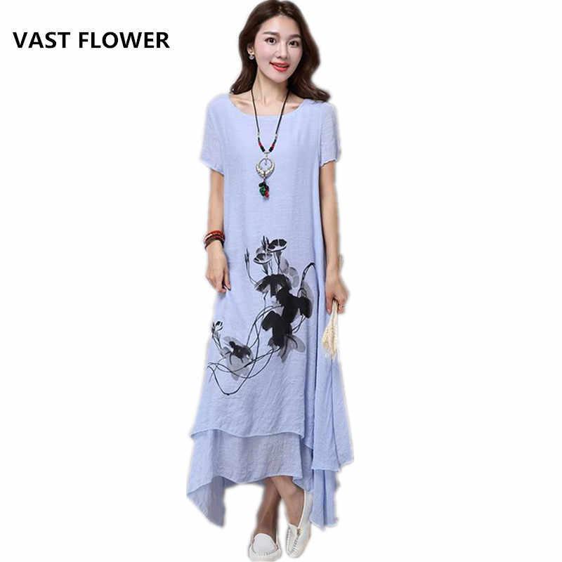 d05b6f417a3 fashion cotton linen plus size vintage print women casual loose long summer  dress vestidos femininos party