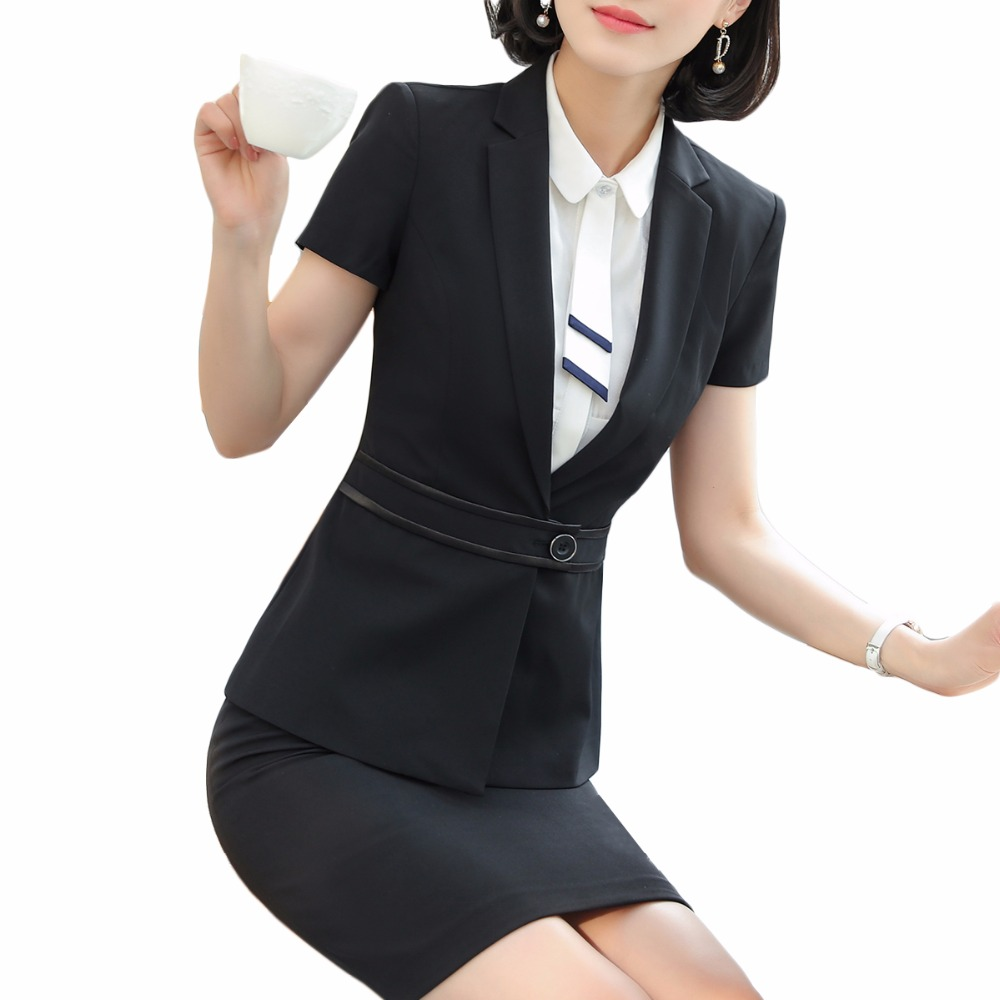 177cf9745c 2018 New Business Skirt Suits Lady Office Work Wear Coat Spring Summer  Elegant Short Sleeve Blazer With Skirt Plus Size S-4XL