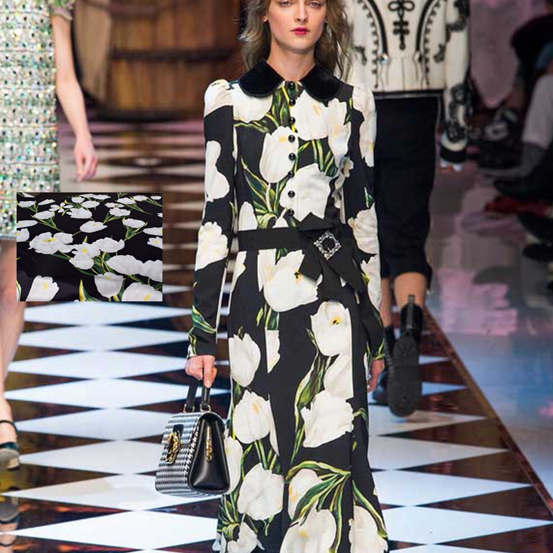 Forró eladás 2016 új divat digitális festészet virágok szatén szövet ruha puha sima szövetu au méter világos ruhát DIY