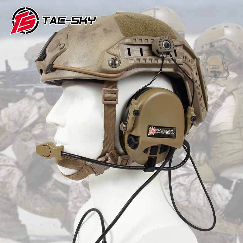 TAC-SKY TEA Hi-Threat Tier 1 Silicone Earmuff Version Noise Reduction Pickup Headset-DE