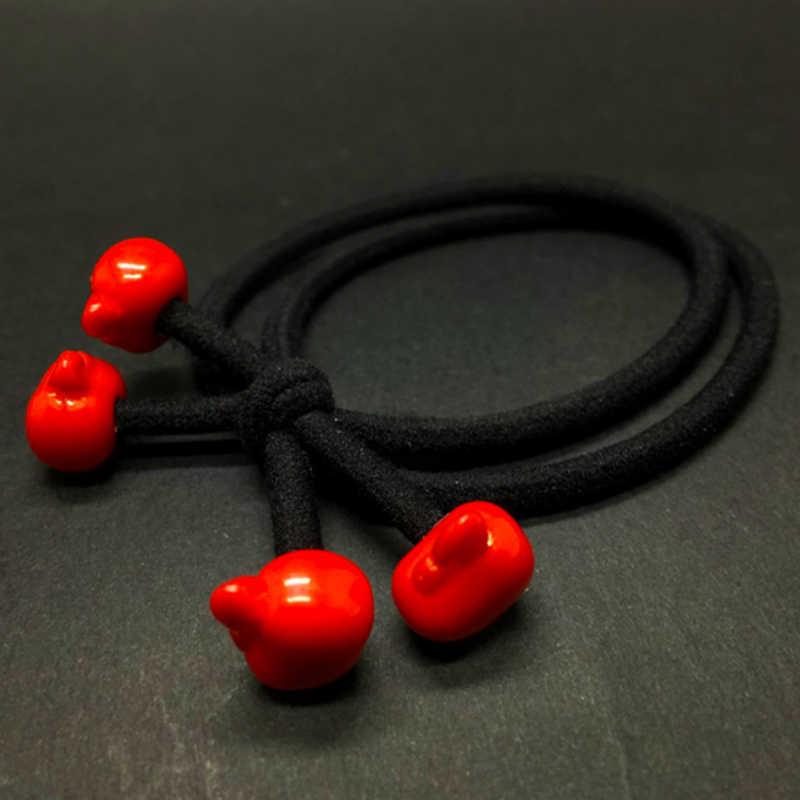 Dwa w jednym gumka do włosów proste dziewczyny krawat piękny śliczne koreański wersja 1PC czerwone koraliki Cartoon włosów liny