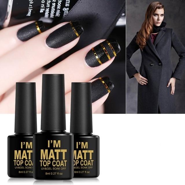Vernis mat vernis à ongles mat Surface 8ml mat couche de finition imbiber UV LED couleur transparente vernis à ongles 2019