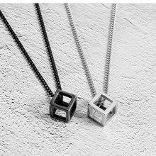Geometric Square Titanium Steel Necklace Punk Style Personality Three-dimensional Pendant