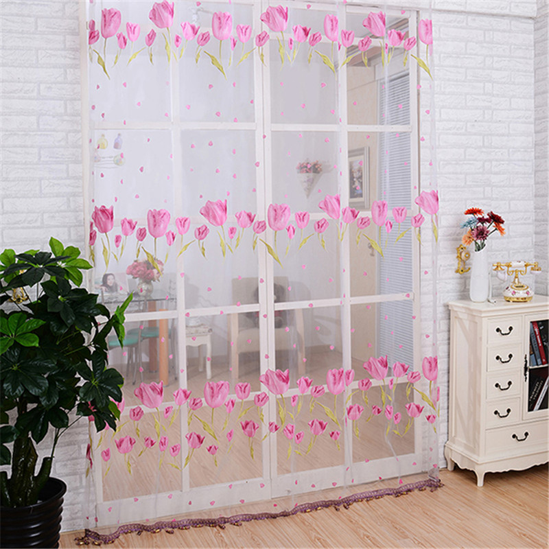 2016 New 100cm 200cm Pink Tulips Flower Pattern Curtains