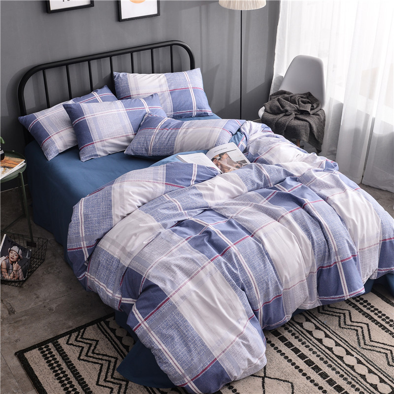 Stylish Blue Big Plaid Pattern Home Textile Bed Linens 3/4pcs Bedding Sets Bed Set Duvet Cover Bed Sheet Mans Cover Set SoftStylish Blue Big Plaid Pattern Home Textile Bed Linens 3/4pcs Bedding Sets Bed Set Duvet Cover Bed Sheet Mans Cover Set Soft