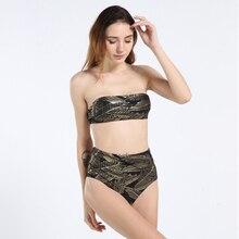 Retro Halter Push Up High Waist Bikini Sport Golden Printed Strapless Stretch Bathing Suit Slim Classical Swimwear Women Bandeau