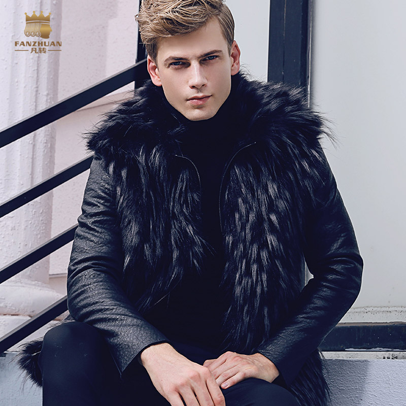 Free Shipping fanzhuan New 2017 fashion male Mens slim warm coat winter Fur thickening PU leather velvet 710125 Hair collar
