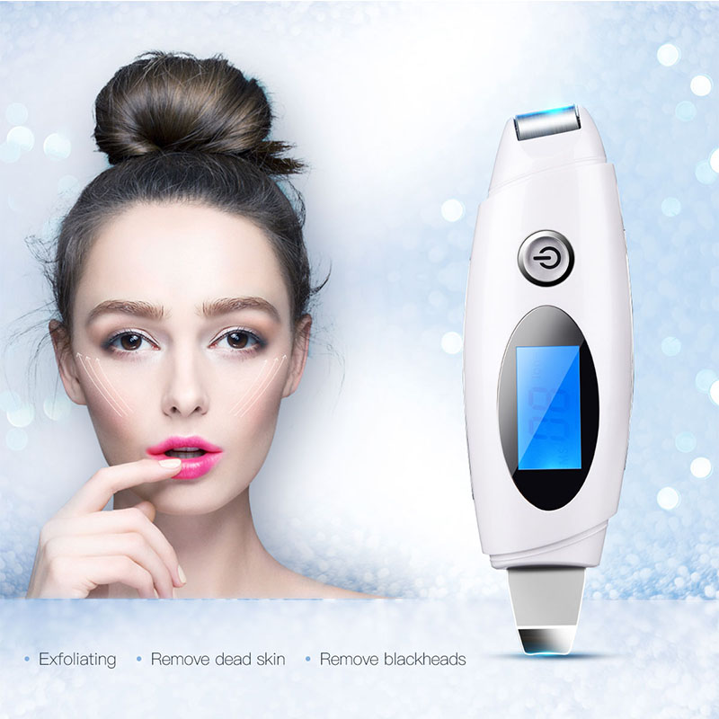 LCD Digital Intelligent Skin Scrubber Ultrasonic Ion Facial Pore Cleaner Cutin Blackhead Acne Removal Machine Beauty