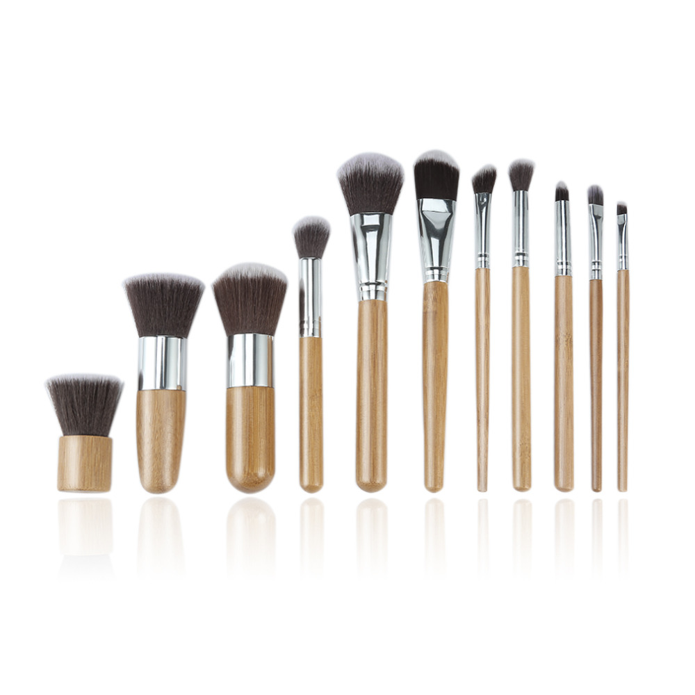 New 11pcs Natural Bamboo Makeup Brushes Eyeshadow Blending Brush Powder Foundation Blending Brush Cosmetic make up Tool Set new diesel fuel pump module assembly 7701472425 fits for renault clio kc0 1 1 9 dti kc0u 59kw 80cv 02 2000 702550040