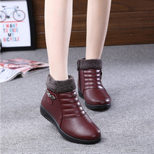 Winter new women's cotton shoes elderly mother high shoes with thick warm boots soft non-slip soles shoes mon boots flat with