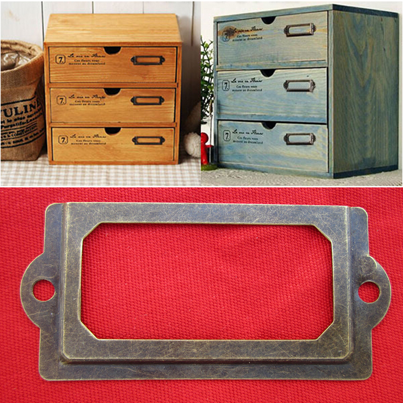 12Pcs Metal Drawer Cabinet Label Frame Pull Handle File Name Card Holder With Screws For Furniture Cabinet Drawer Box Case Bin
