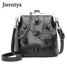 JIEROTYX Black Leather PU Women Bag Messenger Bags Frame Sexy Rivet Lady Handbag Shoulder For Party Gothic Punk High Quality