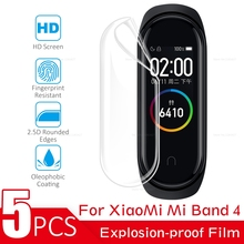 5PCS/Lot Screen Protector For Xiaomi Mi Band 4 Soft Film For Mi Band 4 Full Cover Screen Protection Film HD Not Tempered Glass