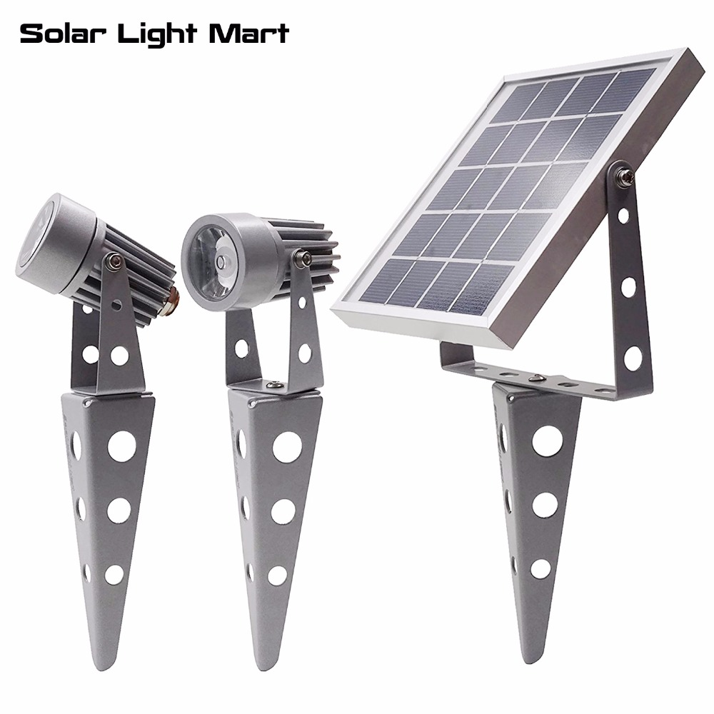 Mini 50X Updated All Metal Twin Solar Powered LED Outdoor Landscape garden decoration Spotlight Waterproof 5m