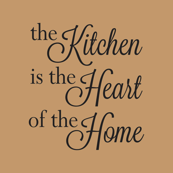 The Kitchen Is The Heart Of The Home Quotes Wall Decal for Kitchen Dining Room Home Decor Removable Vinyl Art Stickers B240