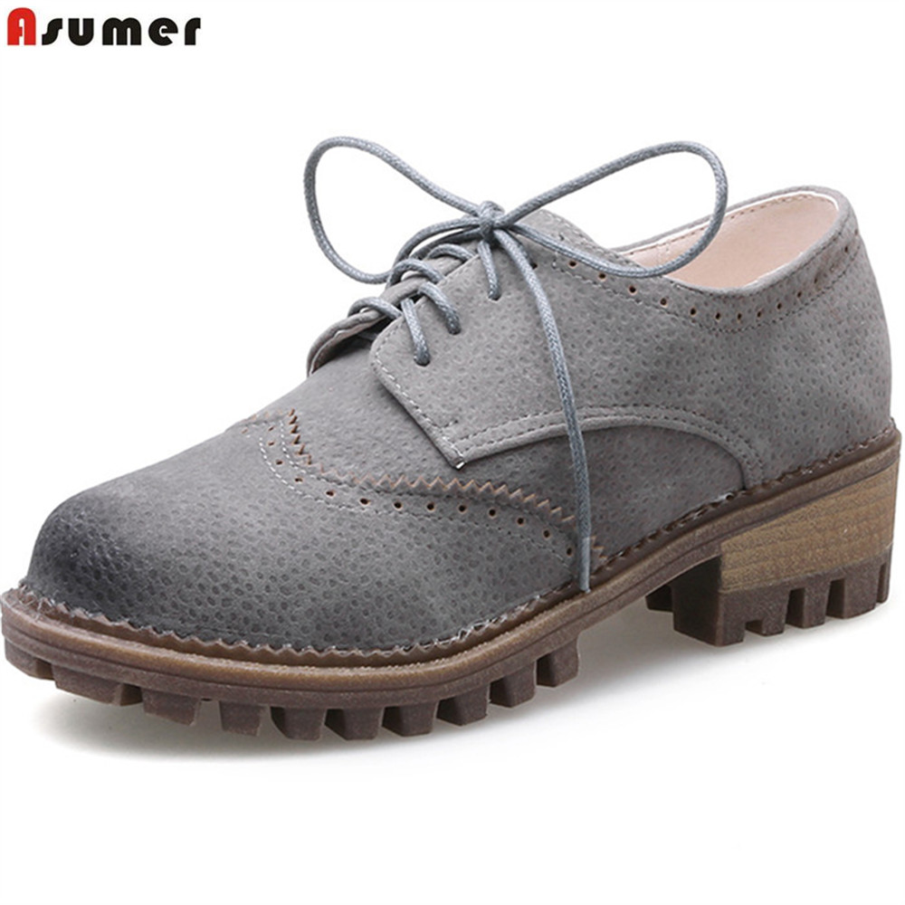 ASUMER black gray fashion new arrive women pumps round toe lace up ladies shoes square heel spring autumn shoes big size 33-43 hot sale 2016 new fashion spring women flats black shoes ladies pointed toe slip on flat women s shoes size 33 43