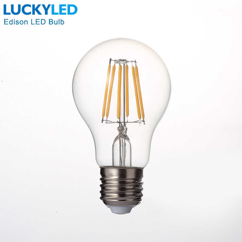 LUCKYLED Retro LED Filament Light Lamp E27 2W 4W 6W 8W A60 Vintage Edison Led bulb 110V / 220V Clear Glass Shell