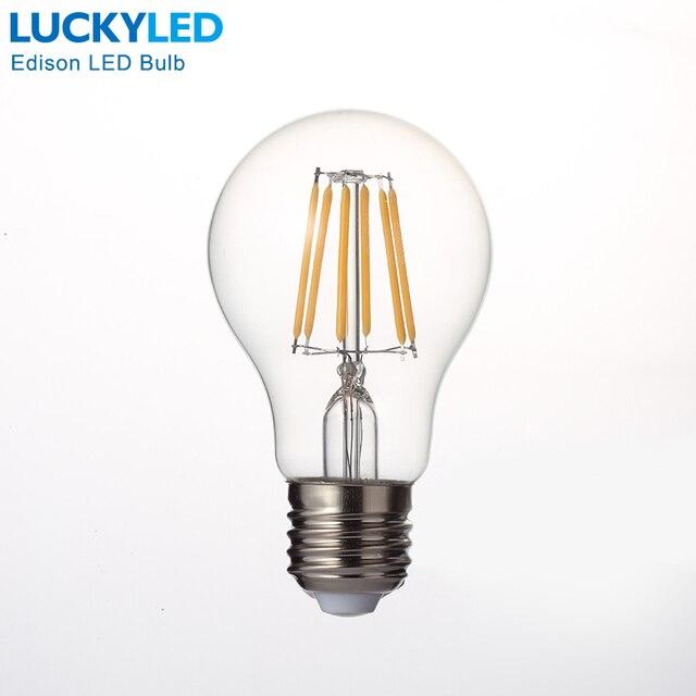 Free shipping Retro LED Filament Light lamp E27 2W 4W 6W 8W 110V / 220V G45 A60 Clear Glass shell vintage edison led bulb