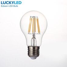 LUCKYLED Lámpara de luz con filamento LED Retro, E27, 2W, 4W, 6W, 8W, A60, Bombilla Vintage Edison, 110V/220V, carcasa de vidrio transparente