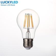 LUCKYLED Retro oświetlenie LED lampa E27 2W 4W 6W 8W A60 Vintage żarówka Led Edison 110V / 220V przezroczysta szklana powłoka