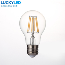 LuckyledレトロledフィラメントライトランプE27 2ワット4ワット6ワット8ワットA60ヴィンテージエジソンled電球110v/220vクリアガラスシェル