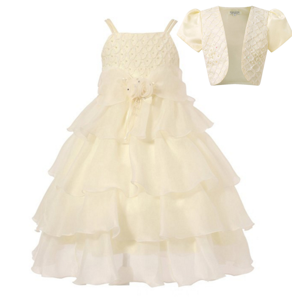 2017 flower girl wedding children clothes robe ceremonie fille white and champagne dress girls formal dresses gril flower dress multi storey white clothes stage girl performance children show clothes for dance with a pair of glove