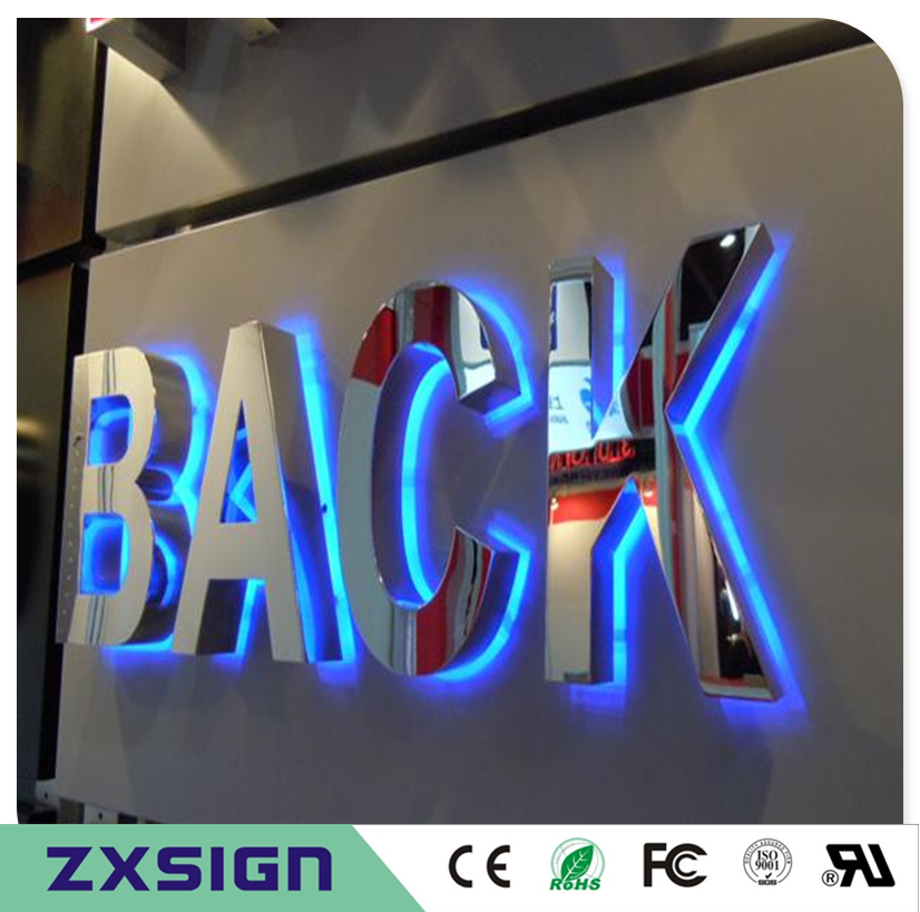 304 Stainless Steel Led Back Lit Name Logo For Outdoor Business Signs Halo Metal Letters Hotel Decoration In Electronic From