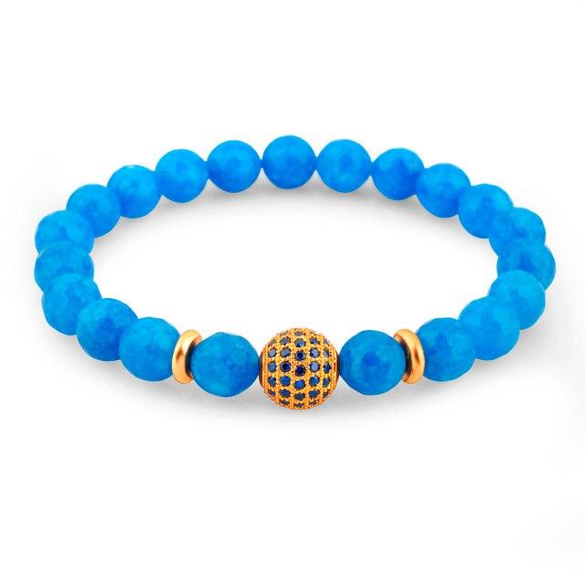 Hot 2016 marca piedra natural pulsera para hombres de las mujeres azules turquesa y la bola de cristal con cuentas pulsera del encanto de 220mm elástica cuerda