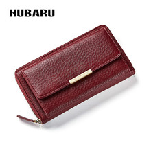 Купить с кэшбэком HUBARU Women Wallets Slim Design Coin Purse Black Color Zipper Wallet Female Fashion PU Leather Clutch Clamp For Money Standard