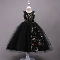 Teenage Girls Black Party Dress Children Embroidered Flowers Clothes Kids Clothing Children Sleeveless Clothing Bow Girl Dresses