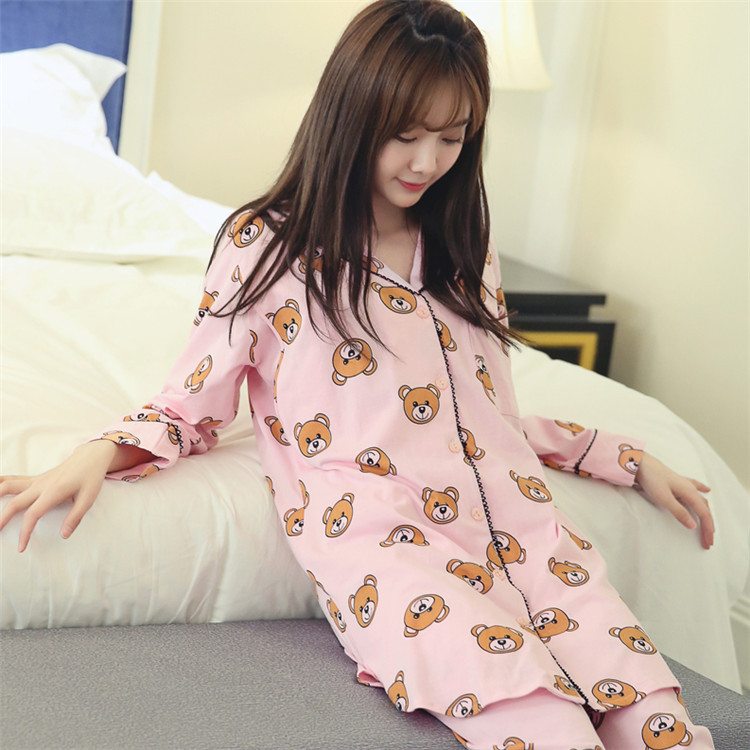 98eb36b579 Soft Cotton Maternity Sleepwear Maternity Nursing Pajamas Pregnant Women  Sleepwear Cartoon Bear Maternity Nightgown Set SY09