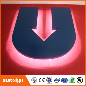 3D outdoor advertising channel letters stainless steel backlit sign letters