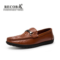 Mens Casual Genuine Leather Brown Flat Penny Loafers Moccasins Slip Ons Driving Shoes Zapatos Hombre For