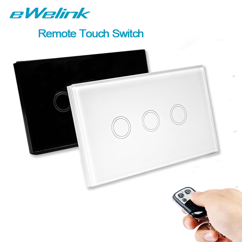 US Standard eWelink Remote Control Switch 3 Gang 1 Way ,RF433 Smart Wall Switch, Wireless remote control touch light switch us standard remote control 3 gang 1 way touch panel rf 433 smart wall switch wireless remote control light switch for smart home