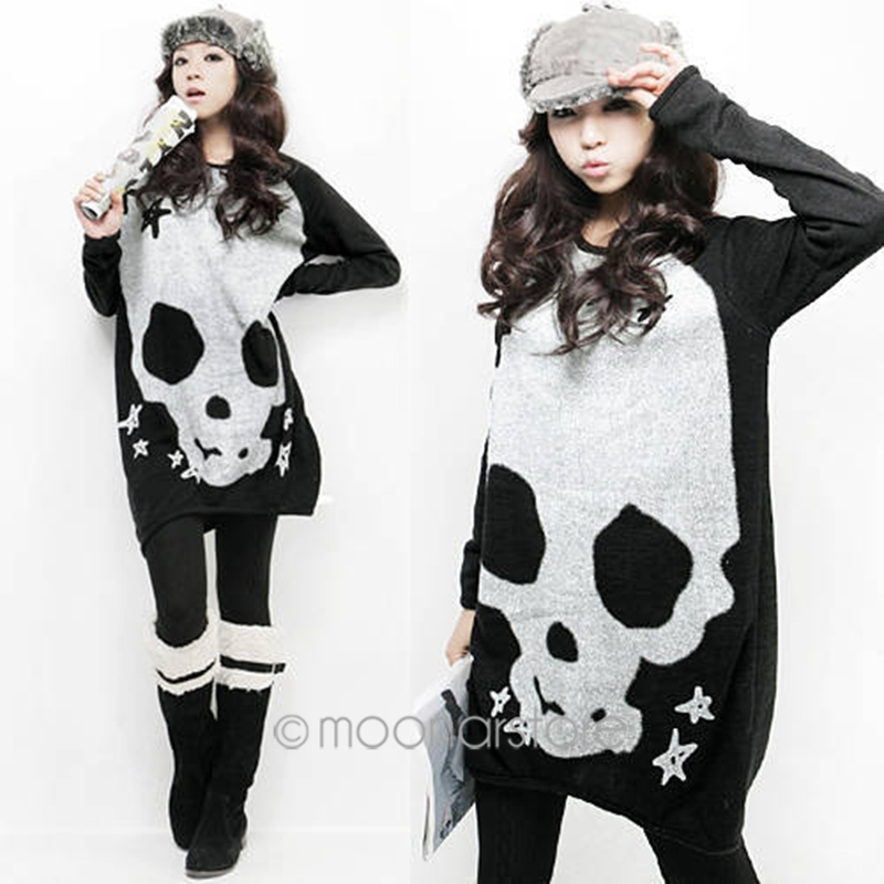 O-Neck Knitted Long Hoody Women Loose Dressing Skull Print Long Sleeve Shirt Pullovers Autumn Winter Wearing