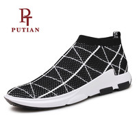 PU TIAN Black Red Grey Breathable Fabric Medium Cut Socks Shoe Summer Outdoor Walking Sport Men