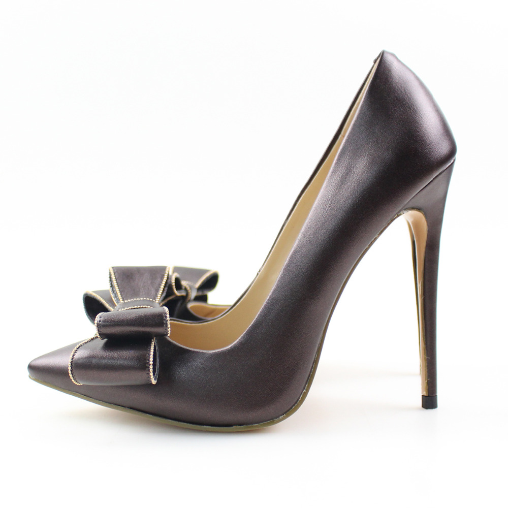 Aiyoway Elegant Women Ladies Bow Pointed Toe High Heel Pumps Wedding Party Dress Shoes Coffee Slip On US Size 5 15 in Women 39 s Pumps from Shoes